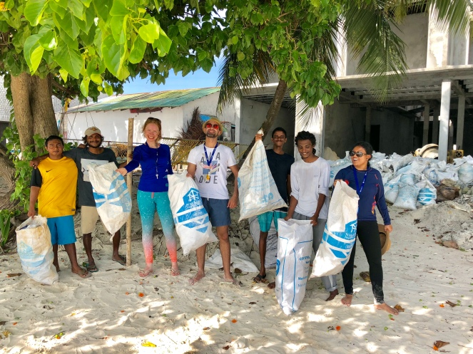 Retreat to Maldives July Day 4 Beach Clean Team