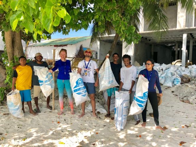 Retreat to Maldives July Day 4 Beach Clean Team